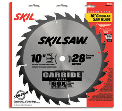"10"" Diameter Carbide Blade; 28T; Application: Ripping; Optimized for Table Saw"